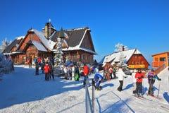 在滑雪胜地的1月 免版税库存图片