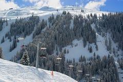 在Montafon谷的滑雪吊车 库存照片