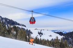 在滑雪胜地Soll的倾斜,蒂罗尔 库存图片