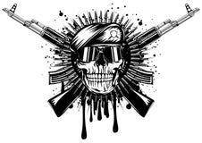 在贝雷帽横渡的攻击步枪的头骨 向量例证