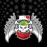 在贝雷帽的头骨有老鹰的 战争象征 库存图片