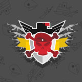 在贝雷帽的头骨有老鹰的 战争象征 免版税图库摄影