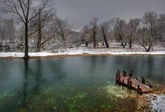 池塘在柴霍甫镇  免版税图库摄影