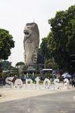 在主题乐园圣淘沙的Merlion雕象 免版税库存图片