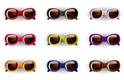 在9颜色的传染媒介太阳镜 免版税库存照片