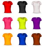 在9颜色的传染媒介女性T恤杉 免版税库存照片