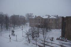 在暴风雪期间的省议院 免版税库存图片