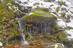 在暴风雪的小山小河 库存照片