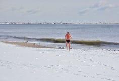 在暴风雪以后的完善的游泳在纽约 免版税库存照片