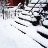 在暴风雪以后的楼梯 库存图片