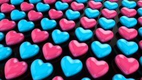 在黑飞机上的桃红色蓝色心脏 免版税库存图片