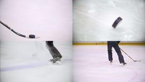 4在1:与顽童的曲棍球运动员训练和在冰鞋减速 股票录像
