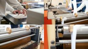 4在1:印刷术工作流,有胶浆的路辗转动 股票录像