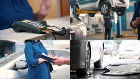 4在1:汽车服务,服务的付款-洗涤的清洁修理 股票录像