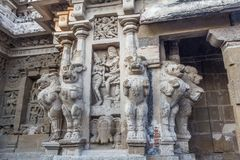在685-705AD期间, Kailasanathar寺庙古庙和被兴建 免版税库存照片