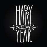 在黑backg的新年快乐手拉的白色线性题字 库存例证