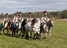 在1812年Borodino争斗的再制定在俄国和法国军队之间的 免版税库存照片
