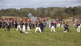 在1812年Borodino争斗的再制定在俄国和法国军队之间的 库存照片