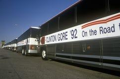 在1992年Buscapade竞选游览中的克林顿/戈尔公共汽车在韦科,得克萨斯 免版税库存图片