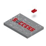在3D块墙壁例证的成功词 图库摄影