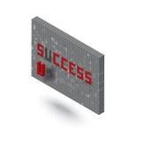 在3D块墙壁例证的成功词 免版税库存图片