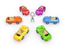 在3d小人物附近的五颜六色的汽车。 免版税库存照片