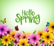 在3D现实传染媒介的五颜六色的花背景春季的 向量例证