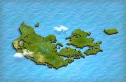 在3d的丹麦地图在海洋 免版税图库摄影