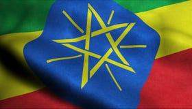 在3D的埃塞俄比亚挥动的旗子 向量例证