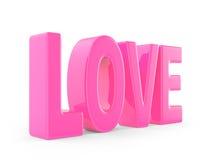 在3d的桃红色爱词 免版税库存照片