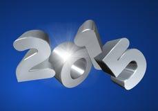 在3D的第2015年在蓝色背景 免版税图库摄影