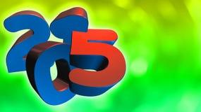 在3D的第2015年在绿色背景 免版税库存图片