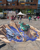 在3D的街道绘画 免版税图库摄影