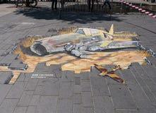 在3D的街道绘画 免版税库存图片