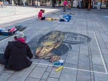 在3D的街道绘画 免版税库存照片