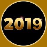 在3D金黄数字和边界的新年2019年 库存照片