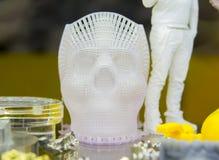 在3d printe打印的人的头骨 图库摄影
