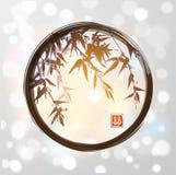 在黑enso禅宗圈子的竹子 皇族释放例证