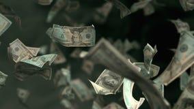 在4K Loopable的落的美元钞票 皇族释放例证