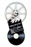 在35 mm影片轴的电影拍板隔绝了垂直 库存图片