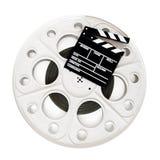 在35 mm戏院被隔绝的影片轴的电影拍板 免版税图库摄影