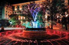 在总统` s办公室前面的色的喷泉 图库摄影