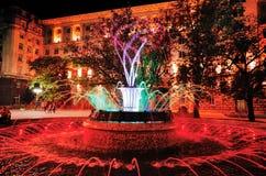 在总统` s办公室前面的色的喷泉 库存照片