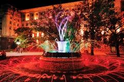 在总统` s办公室前面的色的喷泉 免版税库存图片