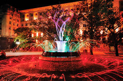 在总统` s办公室前面的色的喷泉 免版税图库摄影