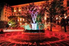 在总统` s办公室前面的色的喷泉 免版税库存照片