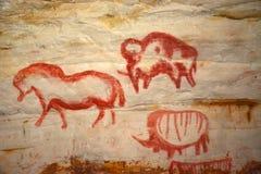 在洞Sablinskaya的岩石绘画 库存图片