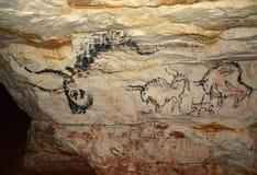 在洞Sablinskaya的岩石绘画 免版税库存图片