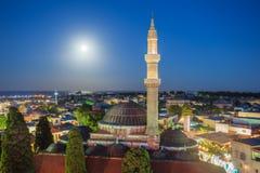 在1523年Suleyman清真寺在罗得岛的老中心建造,希腊 免版税图库摄影