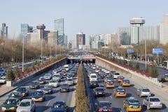 在3th环行路的交通堵塞在北京,中国 免版税库存图片